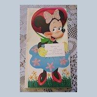 1940's Unused Gibson Walt Disney Minnie Mouse Kiddycard