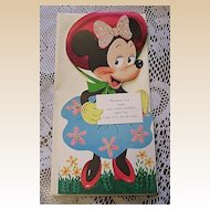 1940's Unused Gibson Walt Disney Minnie Mouse Kiddycard