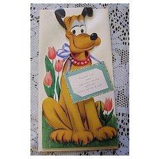 1940's Unused Gibson Walt Disney Pluto Kiddycard