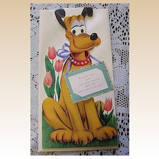 1940's Unused Gibson Walt Disney Pluto Kiddycard