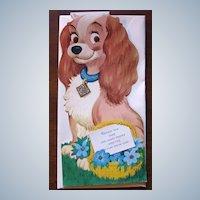 Rare Unused 1940's Walt Disney Lady Dog Gibson Kiddycard