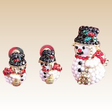 Charming Rhinestone Snowman Pin and Earring Set