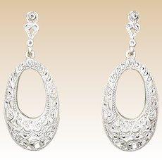 Sterling Marcasite Pierced Earrings