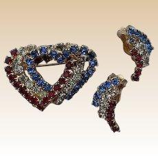 Patriotic Rhinestone Heart Pin and Clip Earrings Set