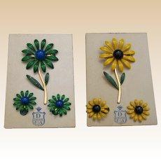 DuBarry Enamel Flower Pin Set