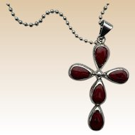 AtI Mexico Sterling Red Jasper Cross Necklace