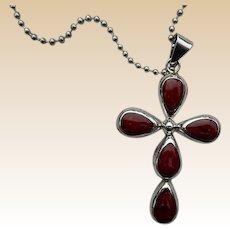 AtI Mexico Sterling Red Jasper Cross Necklace