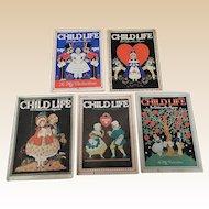 1930's Child Life February Valentine Magazine Set Of Five