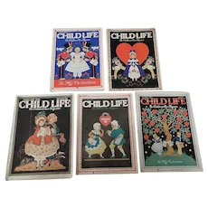 1930's Child Life February Valentine Magazine Set Of Five