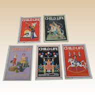 1930's July Child Life Magazine Set of Five