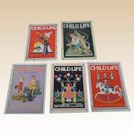 1930's July Child Life Magazine Set of Five