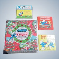 The 1980's Smurf Collection Christmas Wrapping Paper Set Of Two Plus Extras