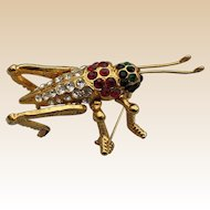 Quality Gold Plated Rhinestone Grasshopper Pin