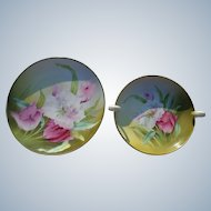 Hand Painted Bavaria Porcelain Parrot Tulips Bowl and Plate Set
