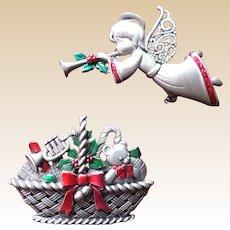 JJ Christmas Angel and Basket Pin Set