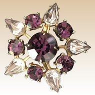 Coro Purple Rhinestone Pin