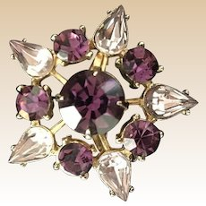 Coro Purple Rhinestone Pin