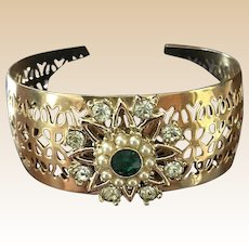 Gold Tone Filligree Rhinestone Bracelet
