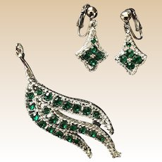 Silver Tone Green Rhinestone Leaf Pin and Clip Earring Set