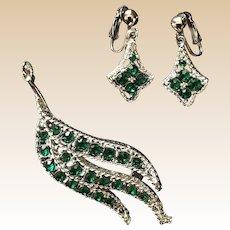 Silver Tone Green Rhinestone Leaf Pin and Clip Earring Set