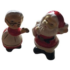 Ceramic Mr. & Mrs. Santa Claus Salt and Pepper Shakers