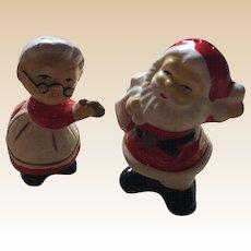 Ceramic Mr. & Mrs. Santa Claus Salt and Pepper Shakers