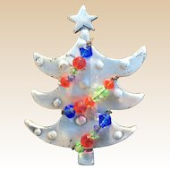 Unique Modernistic Metal Beaded Christmas Tree Pin