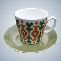 Vintage Figgo Flint Norway Pottery Cup and Saucer