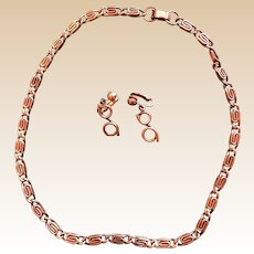 Mid Century Solid Copper Necklace Clip Earring Set