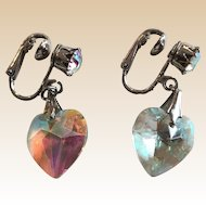 Signed Coro Iridescence Clip Heart Earrings
