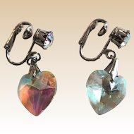 Signed Coro Iridescence Clip Heart Earrings