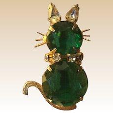 Prong Set Rhinestone Figural Cat Pin