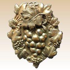 Art Nouveau Metal Dimentional Grapes Pin