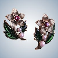 Avon Antique Goldtone Christmas Flower Ruby Rhinestones and Faux Pearls Clip or Pieced Earrings Book Piece