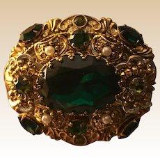 West Germany Emerald Green Cabochon Rhinestone  Brooch