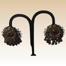 Goldtone Filigree Red Rhinestone Clip Earrings