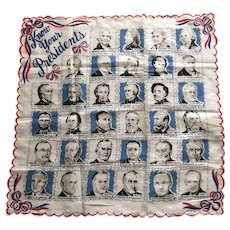 1954 Franshaw Know Your Presidents Handkerchief Book Piece