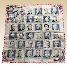1954 Franshaw Know Your Presidents Hankie Book Piece