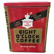 1950's Large Eight O Clock Coffee Tin