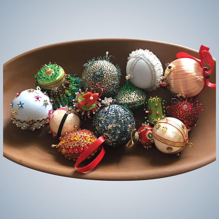 Christmas Ornament Sets.Vintage Handmade Sequin And Beaded Christmas Ornament Collection