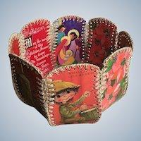 Rare Handmade Christmas Card Basket