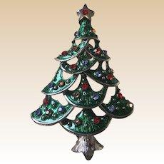 Large Rhinestone Christmas Tree Pin