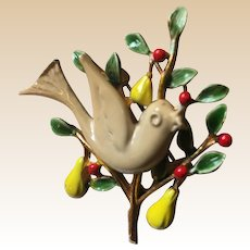 Partridge In a Pear Tree Signed Art Pin Book Piece