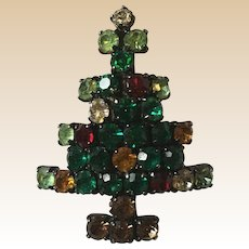 Rhinestone Christmas Tree Pin Book Piece