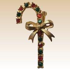 Christmas Gold Tone Candy Cane Rhinestone Pin