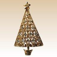 Gold Tone Plating Rhinestone Christmas Tree Pin Book Piece