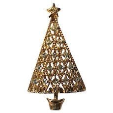 Gold Tone Plating Rhinestone Christmas Tree Pin Book Piece