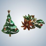Signed BJ Beatrix Candy Cane Christmas Tree and Poinsettias Holly Pin Set