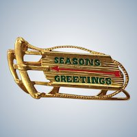 Danecraft Seasons Greetings Sled Pin