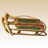 Danecraft Seasons Greetings Sled Pin